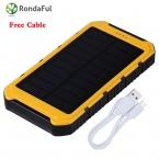8000 мАч Солнечное Зарядное Устройство Водонепроницаемый Солнечное Зарядное Внешняя Батарея Dual USB Power Bank для iphone 5/5s/6/6 s Со СВЕТОДИОДНОЙ Подсветкой лампы