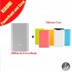 Оригинал Xiaomi Power Bank 5000 мАч Xiaomi 5000li-ion Полимер USB 5000 mahPower Банк Тонкий Powerbank Зарядное Устройство   Силиконовый Чехол