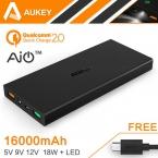 Aukey Быстрая Зарядка 2.0 16000 мАч Портативный Внешний Аккумулятор 5 В 9 В 12 В Dual USB Мобильный Банк Питания Для Samsung Xiaomi HTC Huawei LG