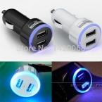 (2 цветов) Halo LED Dual USB 2A Автомобильное Зарядное Устройство адаптер прикуривателя encendedor Cargador de coche зарядное быстрый заряд