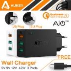 Aukey оригинальный быстрая зарядка 2.0 USB зарядное устройство 3 разъём(ов) смарт турботаймер мобильный зарядное устройство для Samsung Galaxy s6 край Xiaomi ес / сша