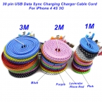 1 М/2 М/3 М Высокое Качество Плетеный Плоским 30 pin USB Синхронизации Данных Зарядный Кабель Зарядного Устройства шнур Для IPHONE 4 4S 3G