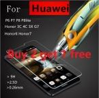 Купить 2 получить 1 Бесплатно Закаленное Стекло Фильм Взрывозащищенный Экран Протектор Для Huawei P7 P8 P9 lite Мини G730 Honor 6 7 3C 4C 5C G9