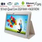 10 Дюймов Quad core Android4.4 Таблетки пк 2 ГБ 16 ГБ 1024*600 ЖК GPS Bluetooth FM 2 СИМ-Карты Телефонный Звонок Смарт Tab Pad