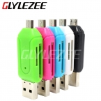 Glylezee 2 в 1 USB кард-otg карты универсальный USB OTG TF / SD кард-ридер телефон расширение заголовки Micro USB OTG адаптер