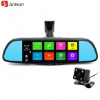 """Junsun 7 """"сенсорный Специальный Автомобильный ВИДЕОРЕГИСТРАТОР Зеркало Камеры GPS Bluetooth 16 ГБ Android 4.4 Dual Объектив FHD 1080 P Видеорегистратор Даш Cam"""