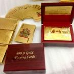Сертифицированные Чистого 24 К Карат Золотая Фольга Гальваническим Покер Игральные карты w/52 Карты и 2 Джокера   Сертификация С Деревянной Коробке
