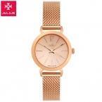 Лучший бренд Юлий смотреть женщины роскошные платья полный стали часы мода повседневная Дамы кварцевые часы из Розового золота Женский стол часы
