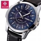 Известный Бренд Юлий часы мужские спортивные Кварцевые Часы Человек Мода Платье Кожаный ремешок Наручные Часы relogio masculino JAH-017