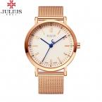 Моды Верхней Люксовый бренд юлий мужские Часы Из Нержавеющей Стали Сетка ремешок Бизнес Кварцевые часы человек Часы Ретро Спорт часы