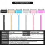 VOXLINK Красочные 1 М/2 М/3 М Нейлон Плетеный Шнур 30 pin Металла разъем Синхронизации USB Кабель для передачи данных Для iphone 4 4S 3GS iPad 1 2 3