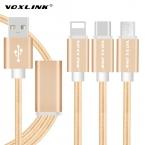 VOXLINK 1.2 М Мульти Зарядное Устройство Кабель 3 в 1 Micro USB   Тип C   8 Pin Синхронизации дата Зарядное Устройство Линии Для iPhone 5 5s 6 Samsung s7 s6 Huawei ПК