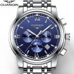 GUANQIN Топ  Механические часы Моды для Мужчин Водонепроницаемый Световой Часы с Календарь Фаз Луны relogio masculino