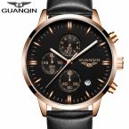 GUANQIN Лучший Бренд Часы Моды для Мужчин Кварцевые Часы С Кожаный Ремешок Для Часов и Мужской Водонепроницаемые Часы relógio masculino