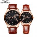 GUANQIN  Пара Часы для Любителей Мужчины Женщины Кварцевые Часы с Кожаный Ремешок Моды Водонепроницаемый Любителей Часы reloj импульса