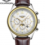 Прибытие мужская Золотые Часы Мода and Casual Кожаный Ремешок Moon Phase Бизнес Мужчины Кварцевые Часы Часы reloj hombre