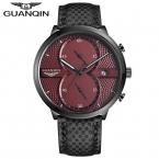 Часы Мужчин Роскошный Лучший Бренд  GUANQIN Кварцевые часы Красный Циферблат Водонепроницаемый Спорт Кварцевые Часы Мужчины Наручные Часы С Секундомер