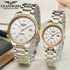 Оригинал GUANQIN Любители Наручные Часы Полная сталь Световой Водонепроницаемый Сапфир Роскошные Женщины и Мужчины Кварцевые Часы (GQ80019)