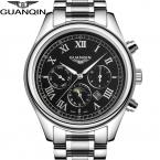 Прибытие Luxury Brand Мужчины Кварцевые Часы С Фазы Луны Полный Нержавеющей Стали Серебро Золото Наручные Часы relogio relojes