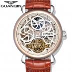 новое Прибытие Мода Скелет Часы Мужчины Luxury Brand GUANQIN Мужчины Наручные Часы автоматические Механические Часы
