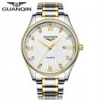 Известный Бренд GUANQIN мужская Полный Стали Часы Мужчины Люксовый Бренд Бизнес Кварц Золото Наручные Часы relogio masculino