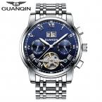 Известный GUANQIN   Турбийон Механические Мужские Часы Стальной Полосы Водонепроницаемый Автоматические Часы Большой Календарь montre homme