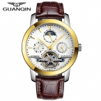 Люкс GUANQIN Марка Качество Механические Наручные Часы Мужчины Кожаный Ремешок Часы Мужчины 100 м Водонепроницаемый Часы reloj hombre