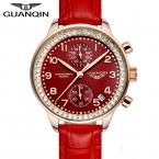 GUANQIN Лучший Бренд Смотреть Женщин Кварцевые Часы С Кожаный Ремешок Водонепроницаемый Мода Часы Для Дам