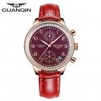 мода повседневная женские часы GUANQIN марка корона подлинной Сапфир водонепроницаемый кварцевые женские часы из нержавеющей стали