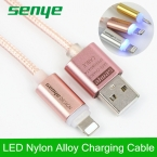 Senye Роза Smart LED USB Данных Освещение кабель Металла Плетеный Нейлоновый линия высокоскоростной передачи Быстрой зарядки для iPhone 5 6 S SE