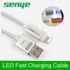 Senye Быстрая зарядка Металла Smart LED Кабель Освещения USB Нейлон Плетеный Шнур для iPhone 5 6 Se