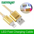 Смарт кристалл из светодиодов кабель для передачи данных металл освещение USB нейлон плетеный шнур высокоскоростной передачи быстрой зарядки для iPhone 5 6 S SE