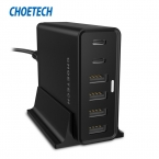 [USB Тип C Зарядное Устройство] CHOETECH 55 Вт Multi USB Зарядное Устройство с Держателем для iPhone, Nexus 5x, Nexus 6 P, Lumia 950/950XL и Многое Другое