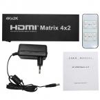 HDMI Матричный Коммутатор 4x2 С Пультом Дистанционного Управления HDMI V1.4 Switcher Splitter Адаптер Конвертер Поддержка 4 К * 2 К 3D 1080 P Высокое Качество