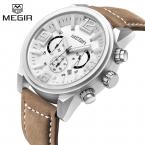 Люксовый Бренд MEGIR Мужчины Спортивные Часы Дата Кварцевые Часы Моды Случайные Кожаный Ремешок мужская Военный Наручные часы