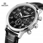 MEGIR Мужчины Часы  Люксовый Бренд мужская Дата Кварцевые Часы Моды Случайные Кожаный Ремешок Мужчины Спорт Военная Наручные часы