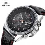 Люксовый Бренд MEGIR Спортивные Часы мужские Кварцевые Часы Часы Моды Случайные Кожаный Ремешок мужская Военный наручные Часы