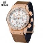 Megir Luxury Brand Design Женские Часы Женщины кожаный Браслет силиконовый ремешок горный хрусталь Кристалл Алмаза Кварцевые часы Часы Женщин