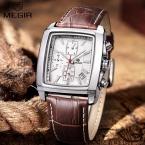 мужской Кварцевые Часы Мужчин Кожа Top Brand MEGIR три реальная циферблат спорт мода Relojes Masculino Наручные часы мужчины платье