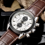 Megir лучший Бренд кварцевый Хронограф Водонепроницаемый Моды Роскошные Кожаные Часы ремешок Мужчины Наручные часы часы продажи 2020