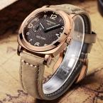 MEGIR бренд кожа хаки матовый циферблат золота случае часы мужские малая секундная стрелка, простой кварцевые наручные часы мужские часы watchproof