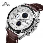Новейший Megir высокое качество мужские часы лучший бренд класса люкс кварцевые часы Megir часы хронограф наручные часы