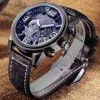 Новая мода люди вскользь спорт кварцевые часы большой циферблат водонепроницаемый хронограф Genuin кожа наручные часы мужские relojes MEGIR АБСОЛЮТНО