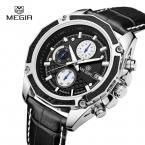 Megir Мужские Часы Топ Luxury brand спорт Световой функция Хронографа Кварцевые часы Наручные Часы мужской часы Relogio Masculino