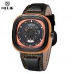 Дизайн MEGIR Бренд Большой Циферблат Мужская Мода Кварцевые Часы Водонепроницаемые Армии Стильный спорт Кожа Наручные часы мужчины