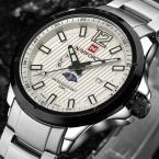 Мужчины Часы мужская Повседневная Марка Спорт Кварцевые Часы Мужчины Из Нержавеющей Стали Moon Phase Час Часы Военные Часы relogio masculino