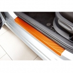 Для Chevrolet Aveo Sonic 2011- автомобиль порога скребок добро пожаловать педаль порог углеродного волокна Защиты Наклейки 4 шт. автомобиля укладки