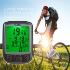 SunDing SD-563A Многофункциональный Велосипедов Компьютер Водонепроницаемый Велоспорт Пробег Велосипедный Компьютер Спидометр с ЖК-Зеленый Подсветка