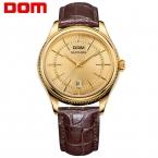 DOM мужские часы лучший бренд класса люкс водонепроницаемый кварцевые кожаный xcBusiness золото mengold Мужчины смотреть M-518