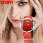 Часы Женщины ДОМ марка роскошный Моды Случайные кварц Уникальный Стильный Полые скелет часы кожа Леди спорта наручные часы 205